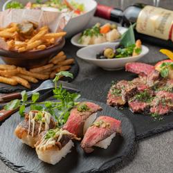 人気の肉寿司が5種食べ比べ!3時間飲み放題がついた宴会にもオススメのコース内容です。