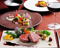 メインは牛フィレ!地野菜オードブルや季節のスープ、魚料理と肉料理のWメインをお楽しみいただけます