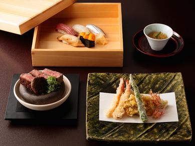 職人の技が集結『牛肉・寿司・天ぷら会席~贅沢三昧』