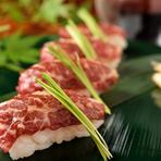 数ある肉料理の中でも、老若男女問わず人気の高い逸品『馬刺し握り』
