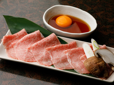 料理長自ら厳選した仙台牛の薄切りを、さっと炙り特製だれで『仙台牛 焼きしゃぶ』