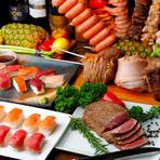 厳選された和牛をはじめ、産地と鮮度にこだわったおいしいお肉をリーズナブルな価格で楽しめるのが同店の魅力。『シュラスコ』や『肉寿司』、『ローストビーフ』など、多彩な肉料理メニューがずらり揃っています。