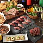 手軽さで人気の『肉寿司』をはじめ、5種のソースが選べる『ローストビーフ』や個性豊かな8種の『チーズフォンデュ』など、多彩なメニューが揃う食べ放題は、なんと最大全130種! お腹も心も大満足間違いなしです。