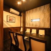 会食に最適な個室は、4名より最大12名まで利用可能