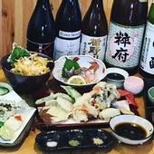 瀬戸内の旬魚介をお造りと天ぷらで満喫『縁のコース』