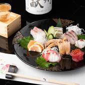 瀬戸内海で水揚げされた新鮮魚貝を楽しめる『旬の造り盛り合せ』