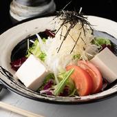 自家製豆腐と野菜を山芋ドレッシングで食す『ちはるサラダ』