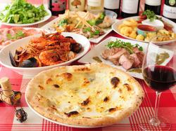 2019年夏のパーティーコースをラベルデ大手町店いかかですか。ピッツァ、パスタ、満足いただけるコース