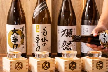 各地より集められた日本酒。粋な演出も好評