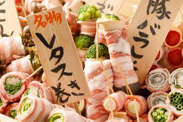 毎日丁寧に仕込み。味はもとより見た目も可愛い、博多の名物串料理『野菜巻き串』