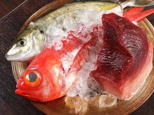 市場で厳選して仕入れる、新鮮な静岡産の魚介類
