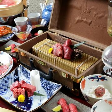 【お料理のみ・肉寿司やユッケ、すき焼き等13品】神戸牛コース