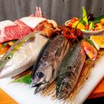 厳選された美味しい肉、旬を重視して吟味される鮮魚、野菜