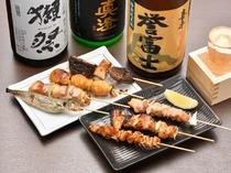 その日仕入れた新鮮な食材を使用し、その日のおすすめを盛合せた『串の盛合せ』