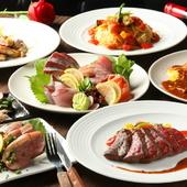 華やかな料理がテーブルを彩る、飲み放題付きコース