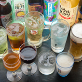 飲み放題も充実。ビール・サワー、好きなドリンクで乾杯