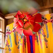 琉球の花笠や琉球舞踊の衣装も体験できる