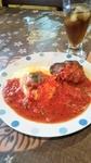 ふわっふわ卵のケチャップおむらいすに当店自家製トマトそーっすの手ごねハンバーグステーキのセット!