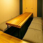 靴を脱いでくつろげる、自由度の高い座敷タイプの完全個室