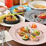 ・カラフルベジタブルアンティパストプレート ・本日のスープ ・パプリカのオーブン焼き ・ヴェジラザニア または 玄米パエリア ・本日のデザート2種類合わせ&カフェ