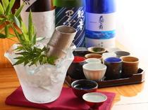 酒器にもこだわり選りすぐる、季節の日本酒