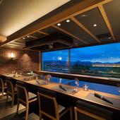 讃岐平野が眼下に広がる専用個室で、鉄板懐石を堪能できる