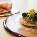 世界中の食材を使って表現される【インクローチ】ならではのイタリアン。ヨーロッパの新鮮なきのこ、手に入りにくいきのこを使った料理も味わうことができます。