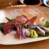 『活魚と熟成魚のお造り盛り合わせ』