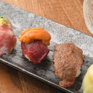 炙りハラミ寿司・中トロ寿司・馬肉寿司うに添え