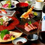 日本三大和牛の一つ、山形県産米沢牛を堪能できる人気コース。メインのサーロインステーキは、米沢牛ならではのあっさりきれいな脂と上品な赤身が絶品。肉寿司も登場し、極上牛の多彩な魅力を満喫できます。