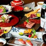 「お肉も魚介も楽しみたい」という方におすすめのハイグレードなコース。米沢牛のステーキや肉寿司などに加え、アワビの鉄板焼が付き、味もボリュームも大満足。特別な日のディナー、接待や会食にいかが。