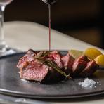 お肉やお魚料理もお任せ下さい。 上質なA4和牛の柔らかい部位ランプ。 シンプルに、ワインソース、お塩でお召し上がり頂けます。