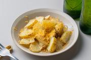 自家製ブレンドハーブで和えたフレッシュなジャガイモをホクホクしながら。削りたてのミモレットチーズをたっぷり使用してますので香り抜群。