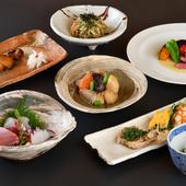 旬食材で彩る季節の『おまかせコース』を2週間替わりで提供