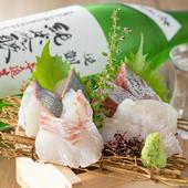 1人前で4種類のお造りが楽しめる『香川県産直鮮魚 1名様枡盛り』