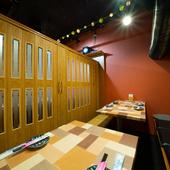 個室仕様のテーブル席は歓送迎会やコンパにオススメ