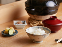 土鍋で炊き上げることで、お米のうまみを引き出す『釜炊きご飯』