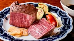 シャトーブリアンを低温調理でお出し致します。従来の鉄板焼きのお肉の概念を変えるほどの自信作です。