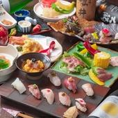 店自慢の鮮魚を堪能。四季折々の食材を盛り込んだ『博多満喫寿司・天婦羅コース』(土産付)