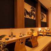 落ち着いた雰囲気の中で、和酒・和食に舌鼓を打てる店