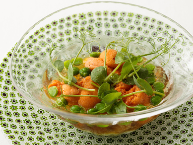 定番旬野菜料理『コンソメジュレとウニ季節の野菜のピュレ』