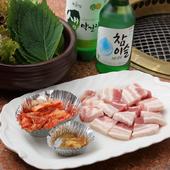 薬膳的な要素も含んだ一番人気の『厚切りサムギョプサルセット』