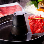 2通りの味わいを地場産野菜とともにいただく『近江牛しゃぶしゃぶ』