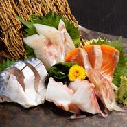 仕入れ次第で日々変わる、市場直送の旬の魚介に舌鼓。訪れる季節ごとに変わる新鮮な素材を味わうことができます。