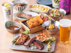天ぷら3種+枕崎の牛ステーキが付いたコース