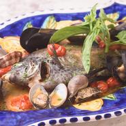 自分で選んだ旬魚を好みの調理法で調理してもらえます。窯焼きやトマト煮込みを選ぶこともできますが、一番人気はアクアパッツァ。魚の旨みをシンプルに楽しめる一皿です。
