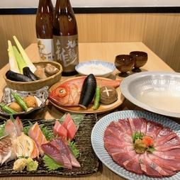真鯛のしゃぶしゃぶと金目鯛のお造りが楽しめるコース。150分飲み放題付で各種宴会におすすめの全7品です。