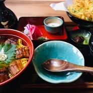1杯目はそのまま、2杯目は柚子七味とろろを乗せ、最後はかき揚げと鯛の潮汁をかけてといろいろな楽しみ方が魅力のひつまぶし。茶碗蒸しも付いたお腹も満足になる御膳です。
