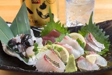 旬の地魚が6~7種類。味は美味しく、見た目も豪華な『情熱男の刺身盛り』