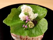 京都や名古屋の市場のほか、全国各地から吟味を重ねて集めた山海の幸を味わう全8品。前菜、お造り、焼き物から土鍋で炊いたごはんまで、旬を感じる素材が満載です。味わいはもちろん、目で見ても楽しめます。